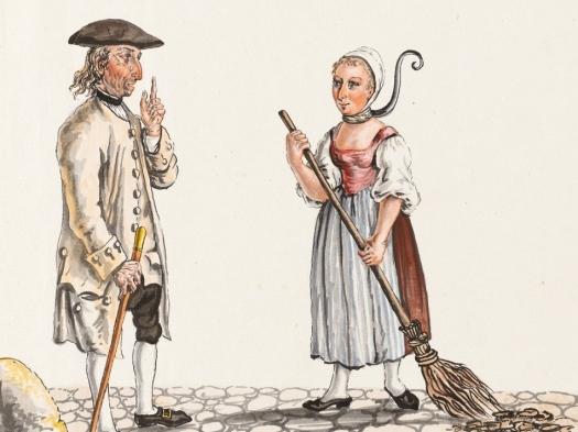 Franz Feyerabend (1755-1800) Jailer & Female Convict Wearing a Neck Stock